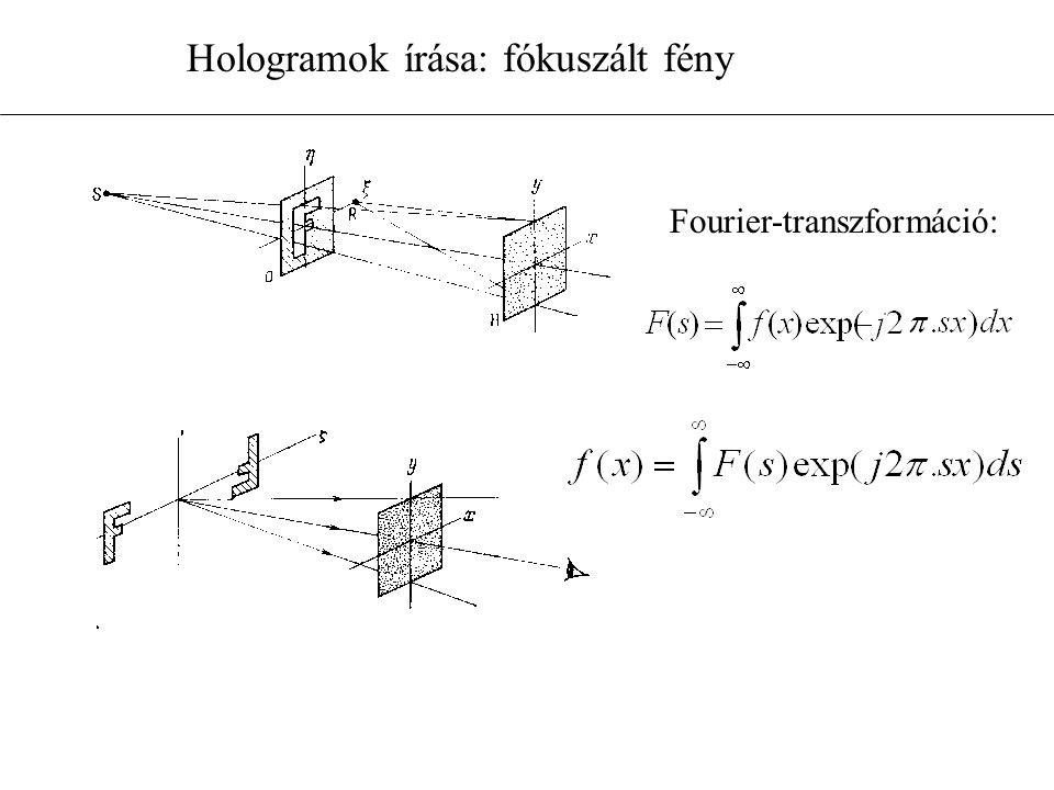 Hologramok írása: fókuszált fény Fourier-transzformáció:
