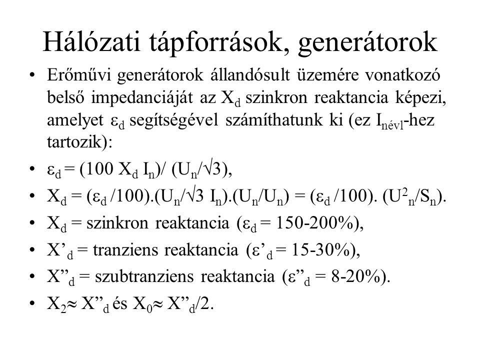 Hálózati tápforrások, generátorok Erőművi generátorok állandósult üzemére vonatkozó belső impedanciáját az X d szinkron reaktancia képezi, amelyet  d