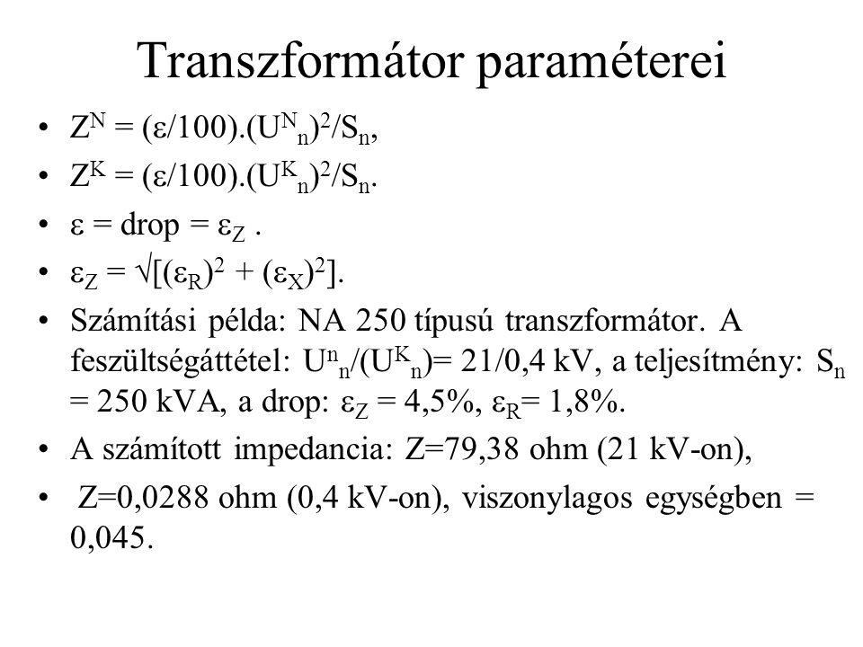 Transzformátor paraméterei Z N = (  /100).(U N n ) 2 /S n, Z K = (  /100).(U K n ) 2 /S n.  = drop =  Z.  Z =  [(  R ) 2 + (  X ) 2 ]. Számítá