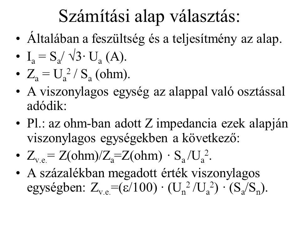 Számítási alap választás: Általában a feszültség és a teljesítmény az alap. I a = S a /  3· U a (A). Z a = U a 2 / S a (ohm). A viszonylagos egység a