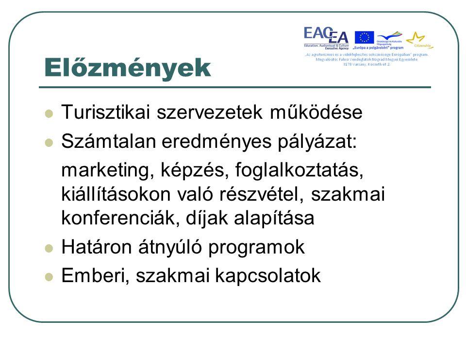 Előzmények Turisztikai szervezetek működése Számtalan eredményes pályázat: marketing, képzés, foglalkoztatás, kiállításokon való részvétel, szakmai konferenciák, díjak alapítása Határon átnyúló programok Emberi, szakmai kapcsolatok