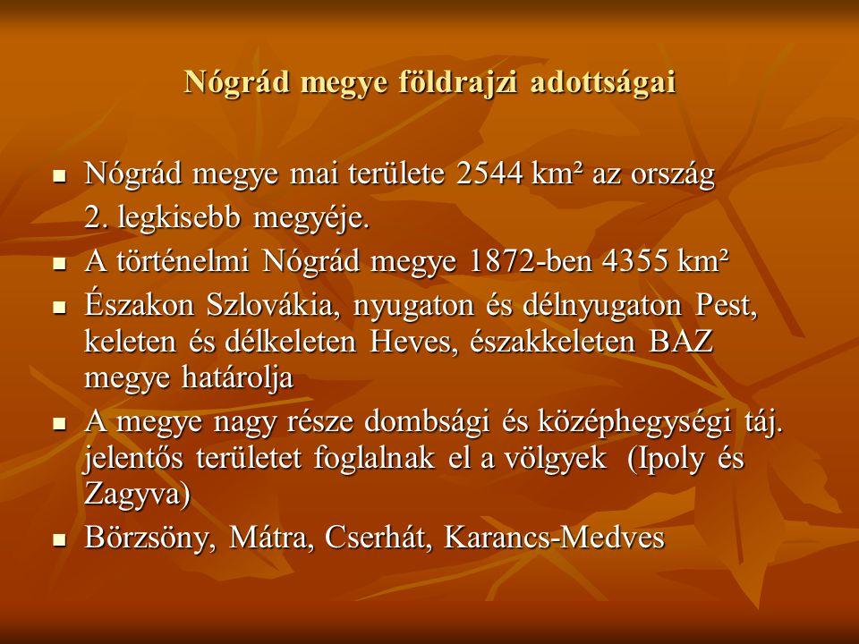 Nógrád megye földrajzi adottságai Nógrád megye mai területe 2544 km² az ország Nógrád megye mai területe 2544 km² az ország 2.