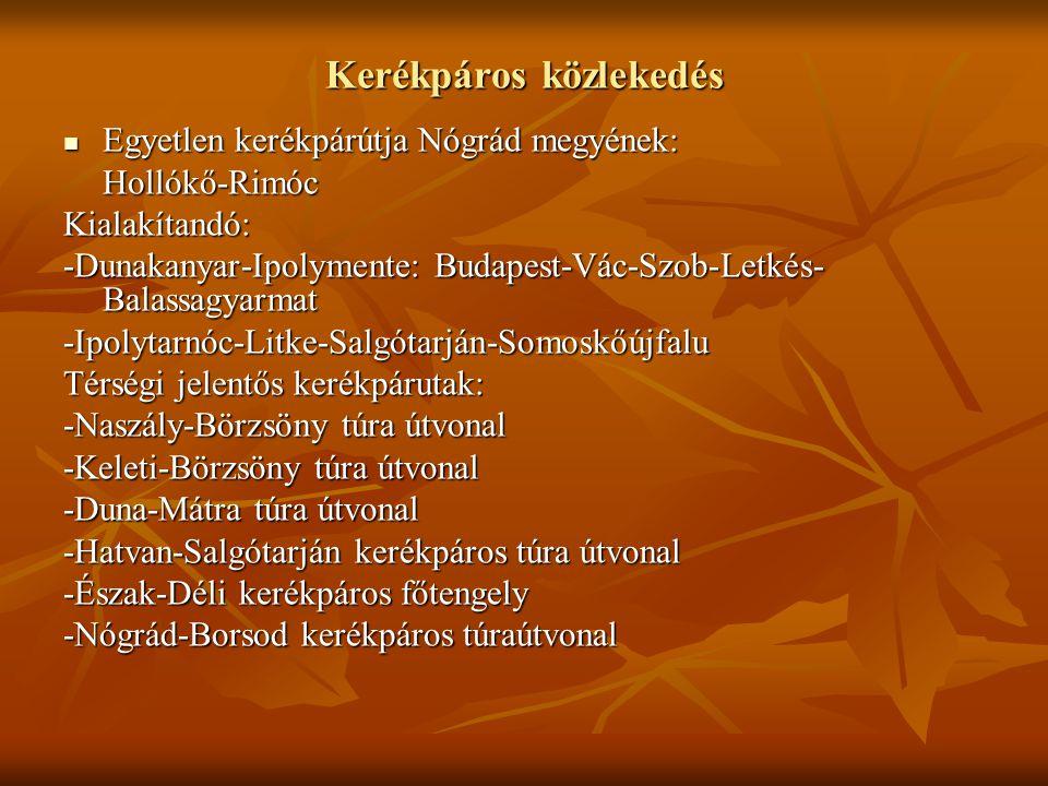 Kerékpáros közlekedés Egyetlen kerékpárútja Nógrád megyének: Egyetlen kerékpárútja Nógrád megyének:Hollókő-RimócKialakítandó: -Dunakanyar-Ipolymente: Budapest-Vác-Szob-Letkés- Balassagyarmat -Ipolytarnóc-Litke-Salgótarján-Somoskőújfalu Térségi jelentős kerékpárutak: -Naszály-Börzsöny túra útvonal -Keleti-Börzsöny túra útvonal -Duna-Mátra túra útvonal -Hatvan-Salgótarján kerékpáros túra útvonal -Észak-Déli kerékpáros főtengely -Nógrád-Borsod kerékpáros túraútvonal