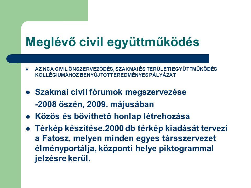 Meglévő civil együttműködés AZ NCA CIVIL ÖNSZERVEZŐDÉS, SZAKMAI ÉS TERÜLETI EGYÜTTMŰKÖDÉS KOLLÉGIUMÁHOZ BENYÚJTOTT EREDMÉNYES PÁLYÁZAT Szakmai civil fórumok megszervezése -2008 őszén, 2009.