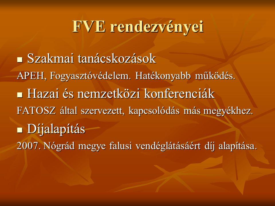 FVE rendezvényei Szakmai tanácskozások Szakmai tanácskozások APEH, Fogyasztóvédelem.