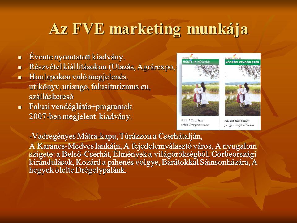 Az FVE marketing munkája Évente nyomtatott kiadvány.