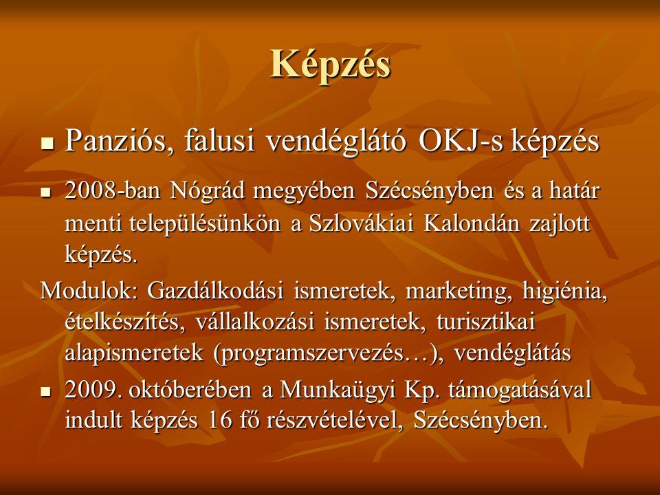 Képzés Panziós, falusi vendéglátó OKJ-s képzés Panziós, falusi vendéglátó OKJ-s képzés 2008-ban Nógrád megyében Szécsényben és a határ menti településünkön a Szlovákiai Kalondán zajlott képzés.