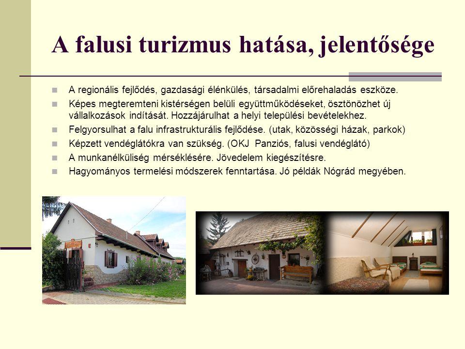 A falusi turizmus hatása, jelentősége A regionális fejlődés, gazdasági élénkülés, társadalmi előrehaladás eszköze. Képes megteremteni kistérségen belü