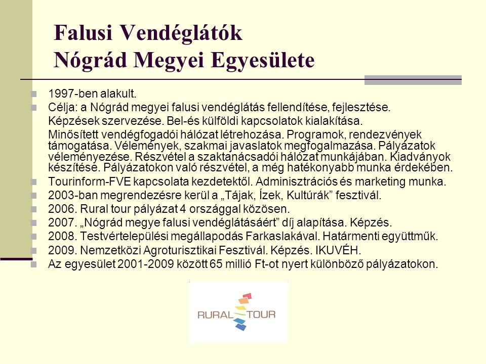 Falusi Vendéglátók Nógrád Megyei Egyesülete 1997-ben alakult. Célja: a Nógrád megyei falusi vendéglátás fellendítése, fejlesztése. Képzések szervezése