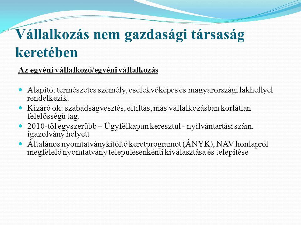 Vállalkozás nem gazdasági társaság keretében Az egyéni vállalkozó/egyéni vállalkozás Alapító: természetes személy, cselekvőképes és magyarországi lakh