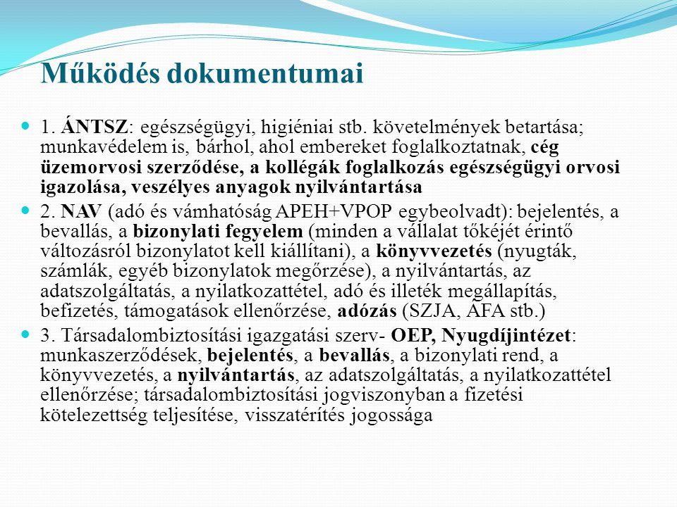 Működés dokumentumai 1. ÁNTSZ: egészségügyi, higiéniai stb. követelmények betartása; munkavédelem is, bárhol, ahol embereket foglalkoztatnak, cég üzem