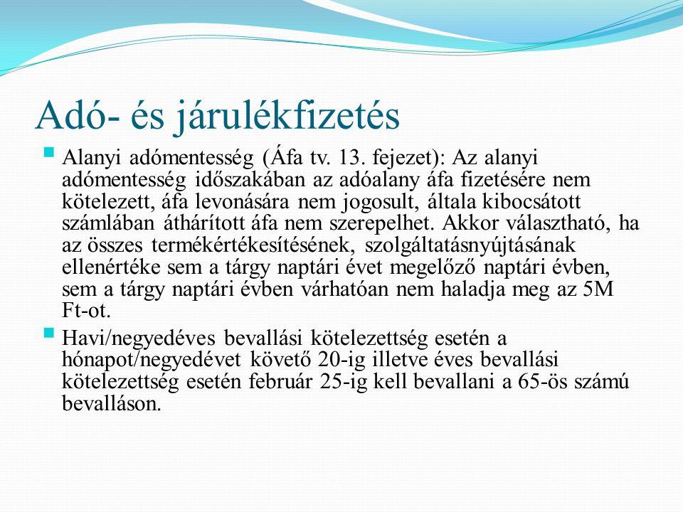 Adó- és járulékfizetés  Alanyi adómentesség (Áfa tv. 13. fejezet): Az alanyi adómentesség időszakában az adóalany áfa fizetésére nem kötelezett, áfa