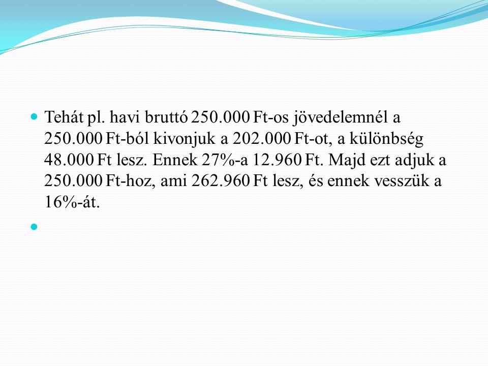 Tehát pl. havi bruttó 250.000 Ft-os jövedelemnél a 250.000 Ft-ból kivonjuk a 202.000 Ft-ot, a különbség 48.000 Ft lesz. Ennek 27%-a 12.960 Ft. Majd ez