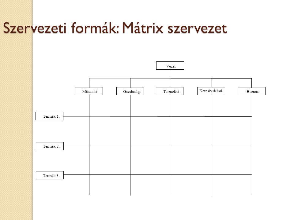 Szervezeti formák: Mátrix szervezet Vezér Termék 1.