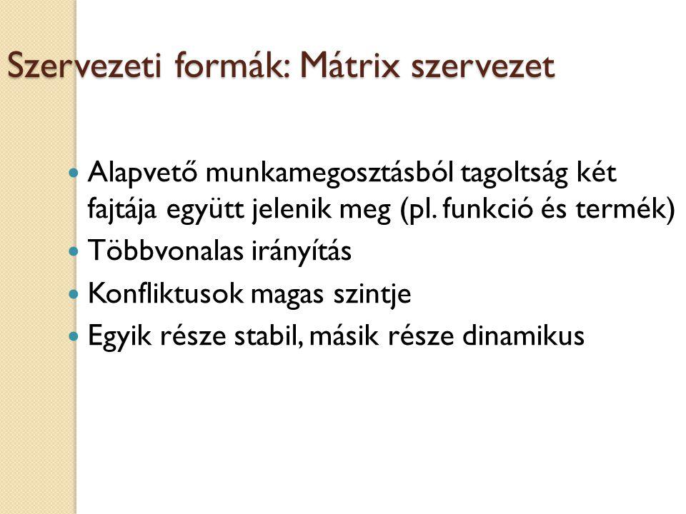 Szervezeti formák: Mátrix szervezet Alapvető munkamegosztásból tagoltság két fajtája együtt jelenik meg (pl.