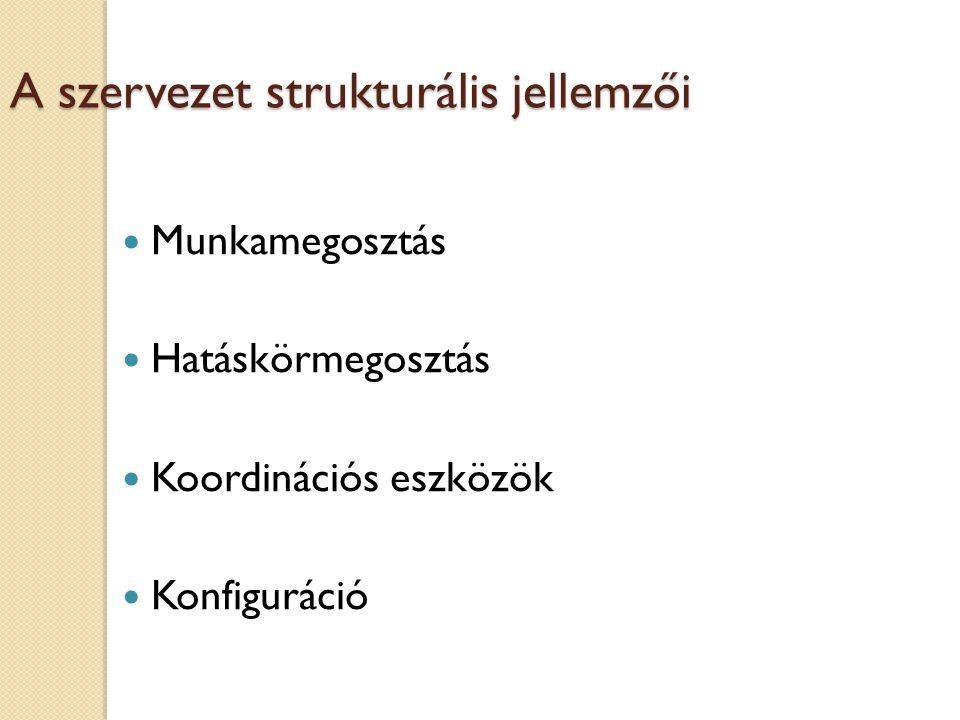 Szervezeti formák: Törzsegységi szervezet 1. szint 2. szint 3. szint Törzs