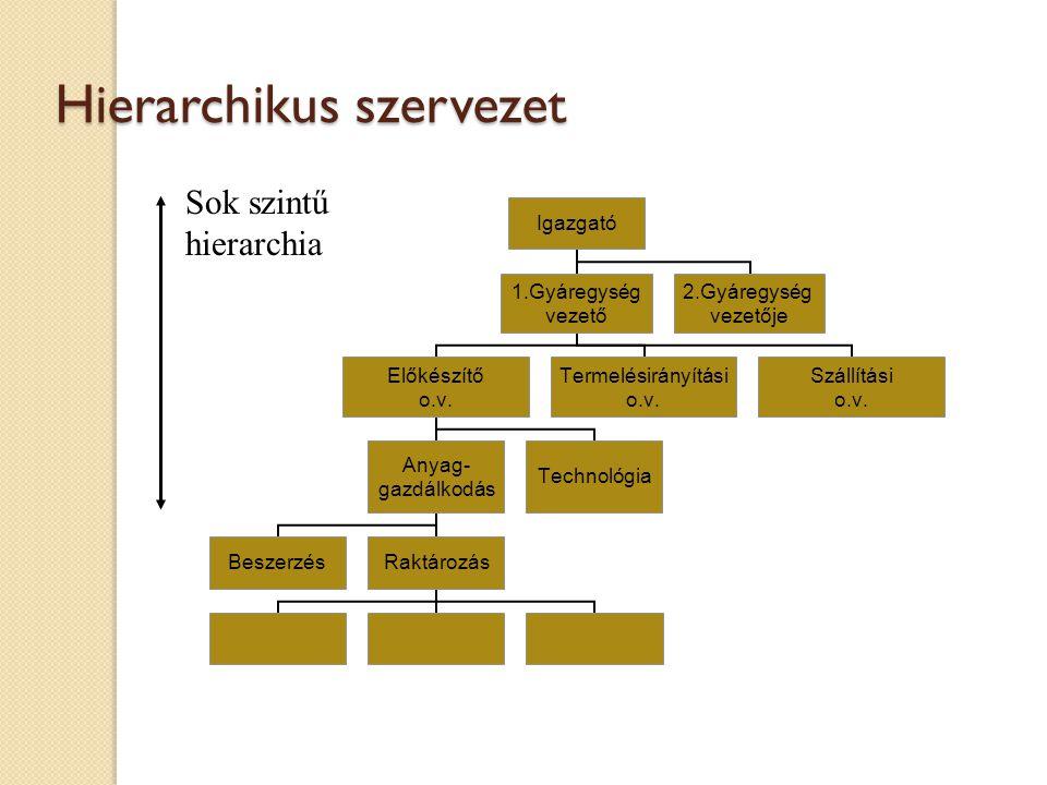 Hierarchikus szervezet Sok szintű hierarchia