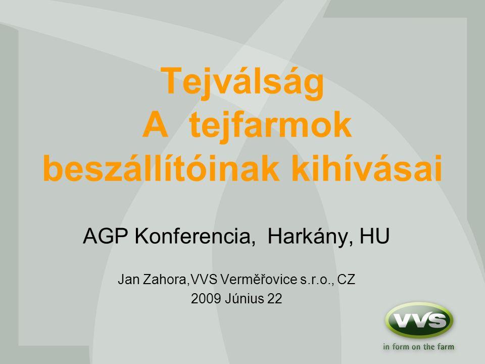 Tejválság A tejfarmok beszállítóinak kihívásai AGP Konferencia, Harkány, HU Jan Zahora,VVS Verměřovice s.r.o., CZ 2009 Június 22