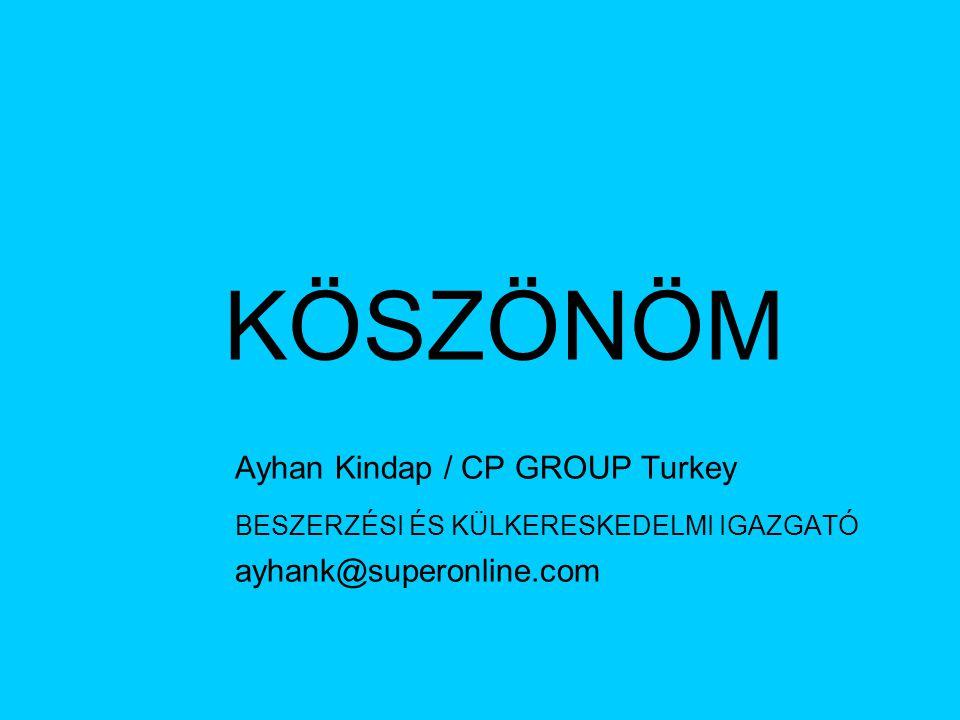 KÖSZÖNÖM Ayhan Kindap / CP GROUP Turkey BESZERZÉSI ÉS KÜLKERESKEDELMI IGAZGATÓ ayhank@superonline.com
