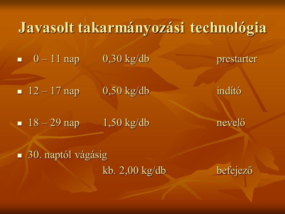 Javasolt takarmányozási technológia 0 – 11 nap0,30 kg/dbprestarter 0 – 11 nap0,30 kg/dbprestarter 12 – 17 nap0,50 kg/dbindító 12 – 17 nap0,50 kg/dbind