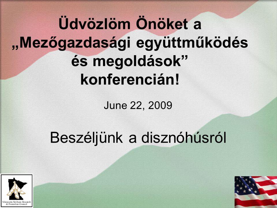 """Üdvözlöm Önöket a """"Mezőgazdasági együttműködés és megoldások"""" konferencián! June 22, 2009 Beszéljünk a disznóhúsról"""