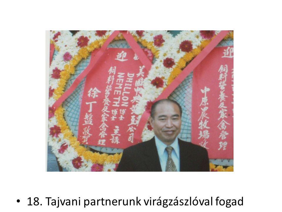 18. Tajvani partnerunk virágzászlóval fogad