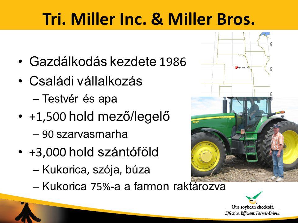 Tri. Miller Inc. & Miller Bros. Gazdálkodás kezdete 1986 Családi vállalkozás –Testvér és apa +1,500 hold mező/legelő – 90 szarvasmarha +3,000 hold szá
