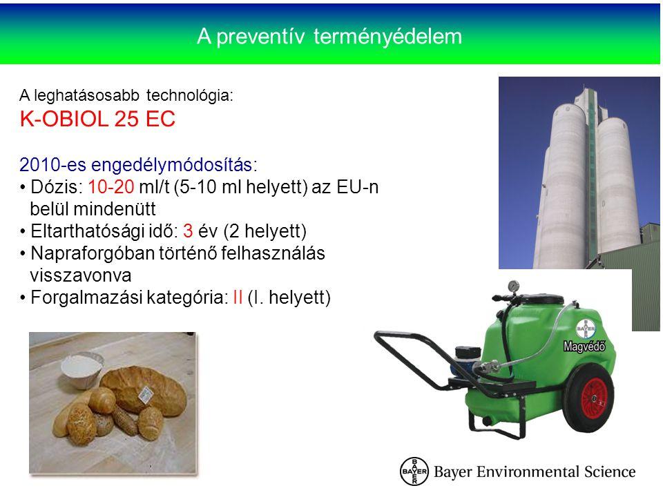 A preventív terményédelem A leghatásosabb technológia: K-OBIOL 25 EC 2010-es engedélymódosítás: Dózis: 10-20 ml/t (5-10 ml helyett) az EU-n belül mind