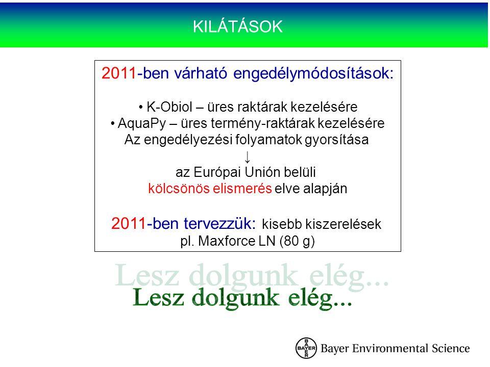 KILÁTÁSOK 2011-ben várható engedélymódosítások: K-Obiol – üres raktárak kezelésére AquaPy – üres termény-raktárak kezelésére Az engedélyezési folyamat