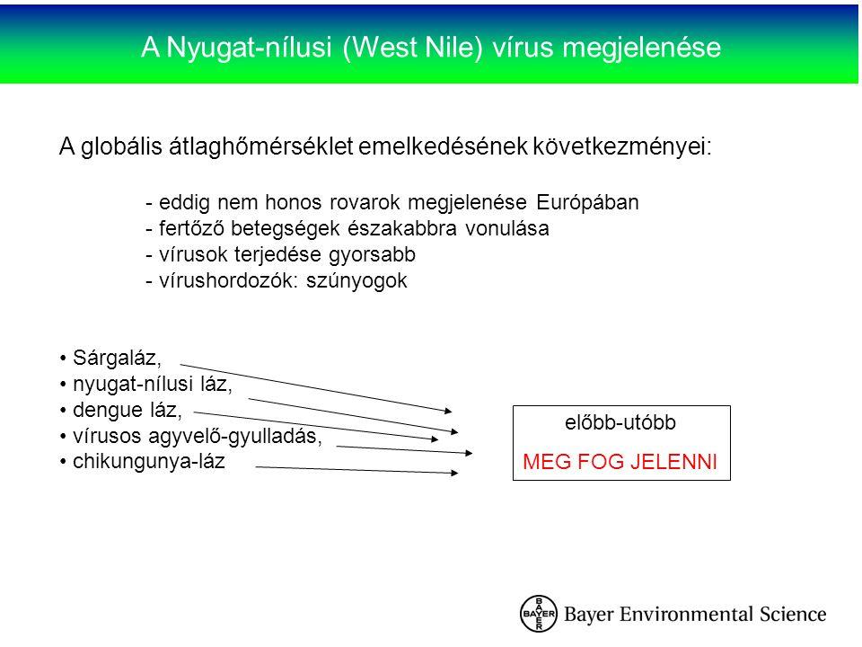 A Nyugat-nílusi (West Nile) vírus megjelenése A globális átlaghőmérséklet emelkedésének következményei: - eddig nem honos rovarok megjelenése Európába