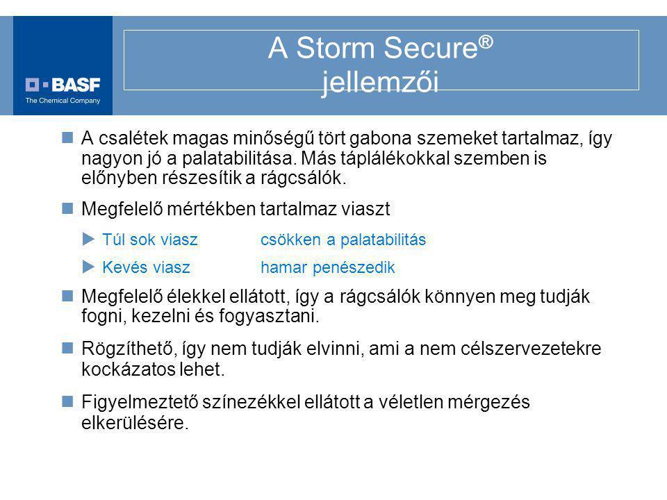 A Storm Secure ® jellemzői A csalétek magas minőségű tört gabona szemeket tartalmaz, így nagyon jó a palatabilitása. Más táplálékokkal szemben is előn
