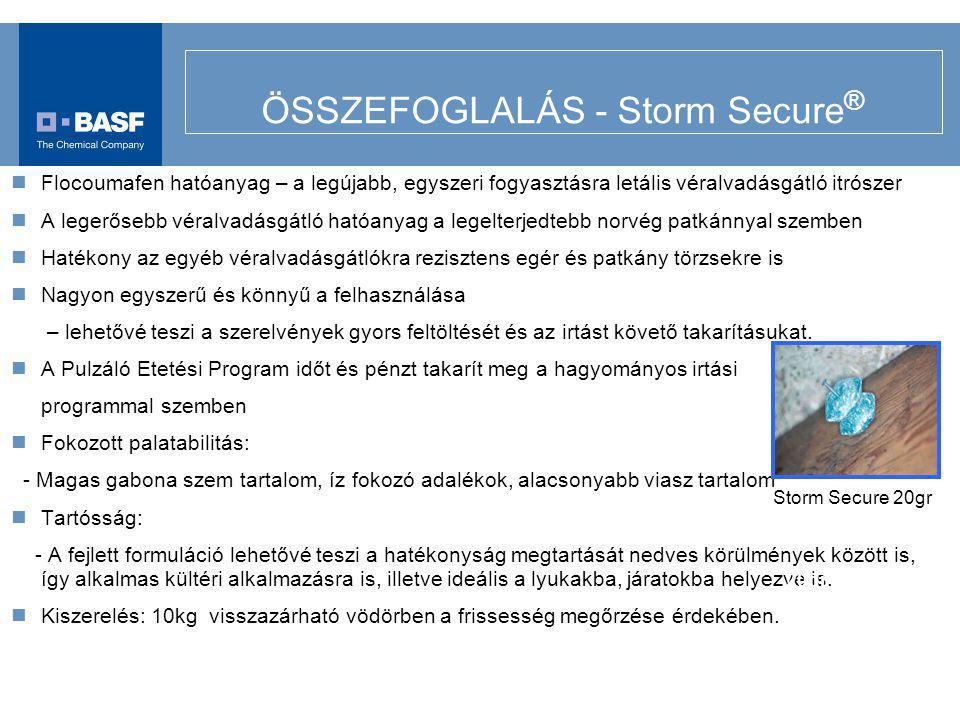 ÖSSZEFOGLALÁS - Storm Secure ® Flocoumafen hatóanyag – a legújabb, egyszeri fogyasztásra letális véralvadásgátló itrószer A legerősebb véralvadásgátló