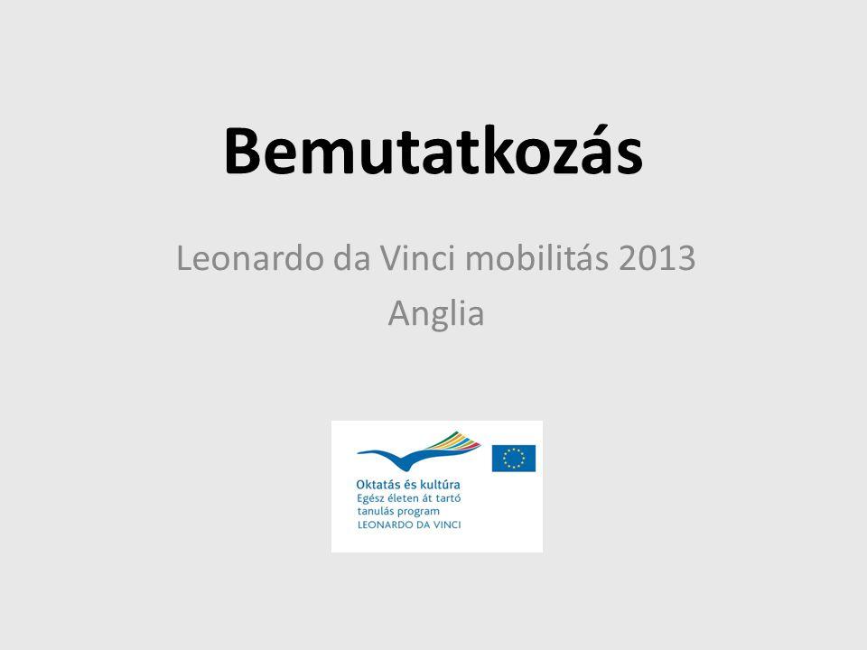 Bemutatkozás Leonardo da Vinci mobilitás 2013 Anglia