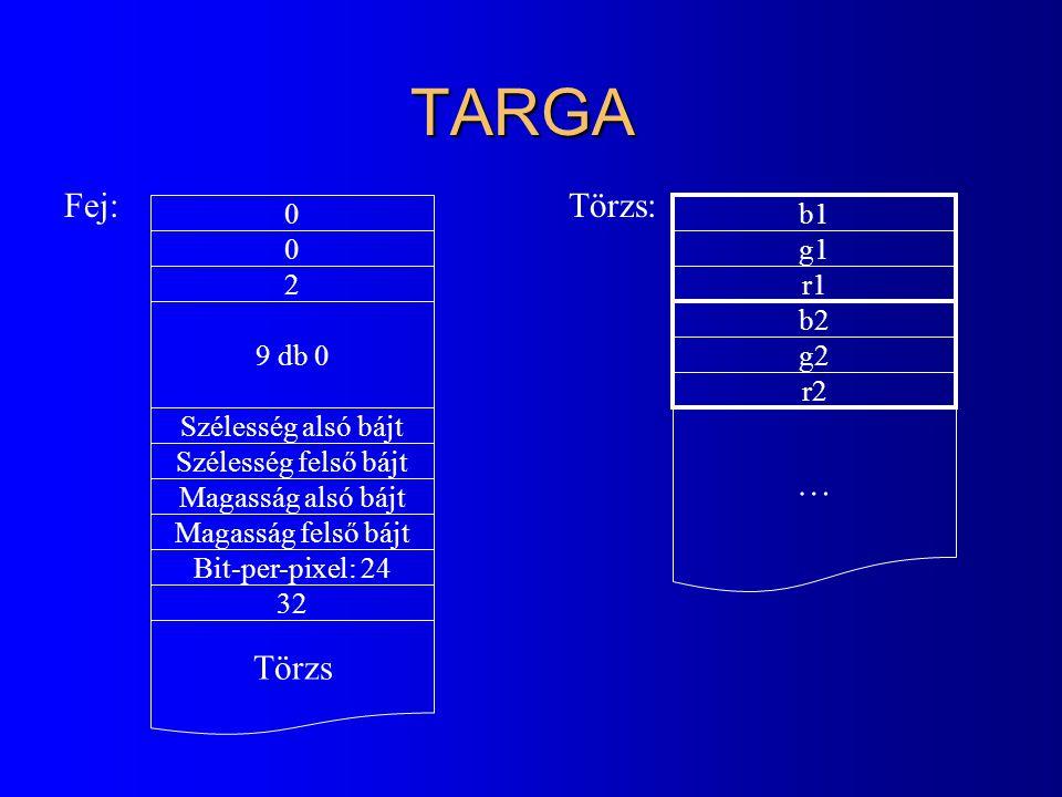 TARGA 0 0 2 9 db 0 Szélesség alsó bájt Szélesség felső bájt Magasság alsó bájt Magasság felső bájt Bit-per-pixel: 24 32 Törzs Fej:Törzs: b1 g1 r1 … b2