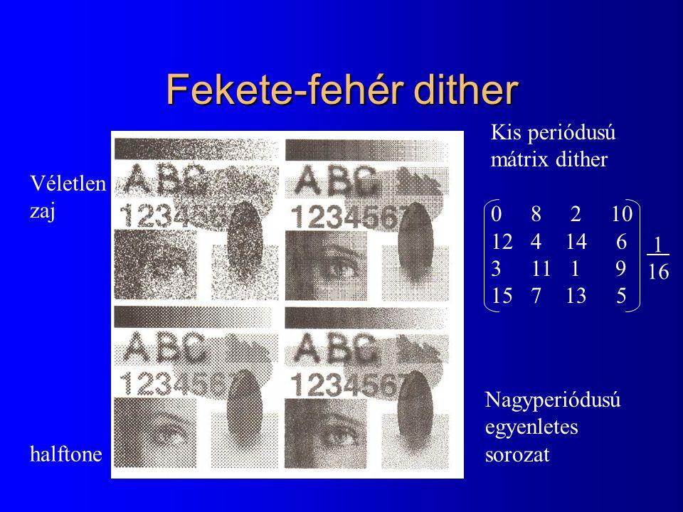 Fekete-fehér dither Véletlen zaj Kis periódusú mátrix dither 0 8 2 10 12 4 14 6 3 11 1 9 15 7 13 5 halftone Nagyperiódusú egyenletes sorozat 1 16