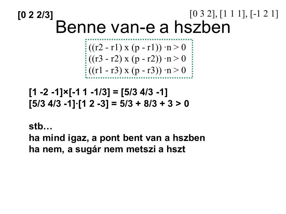 Benne van-e a hszben ((r2 - r1) x (p - r1)) ·n > 0 ((r3 - r2) x (p - r2)) ·n > 0 ((r1 - r3) x (p - r3)) ·n > 0 [0 3 2], [1 1 1], [-1 2 1] [1 -2 -1]×[-1 1 -1/3] = [5/3 4/3 -1] [5/3 4/3 -1]·[1 2 -3] = 5/3 + 8/3 + 3 > 0 stb… ha mind igaz, a pont bent van a hszben ha nem, a sugár nem metszi a hszt [0 2 2/3]