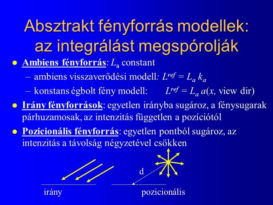 Absztrakt fényforrás modellek: az integrálást megspórolják l Ambiens fényforrás: L a constant –ambiens visszaverődési modell: L ref = L a k a –konstans égbolt fény modell: L ref = L a a(x, view dir) l Irány fényforrások: egyetlen irányba sugároz, a fénysugarak párhuzamosak, az intenzitás független a pozíciótól l Pozicionális fényforrás: egyetlen pontból sugároz, az intenzitás a távolság négyzetével csökken iránypozicionális d