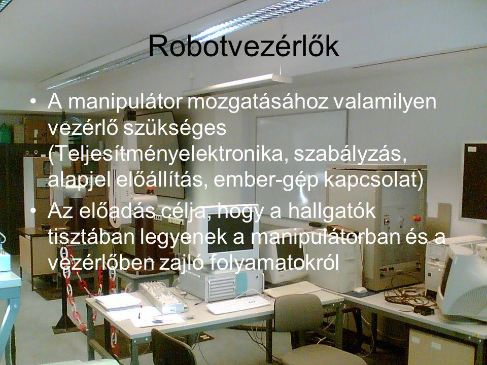 Robotvezérlők A manipulátor mozgatásához valamilyen vezérlő szükséges (Teljesítményelektronika, szabályzás, alapjel előállítás, ember-gép kapcsolat) Az előadás célja, hogy a hallgatók tisztában legyenek a manipulátorban és a vezérlőben zajló folyamatokról