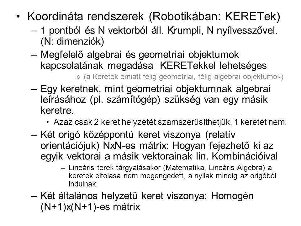 Koordináta rendszerek (Robotikában: KERETek) –1 pontból és N vektorból áll.