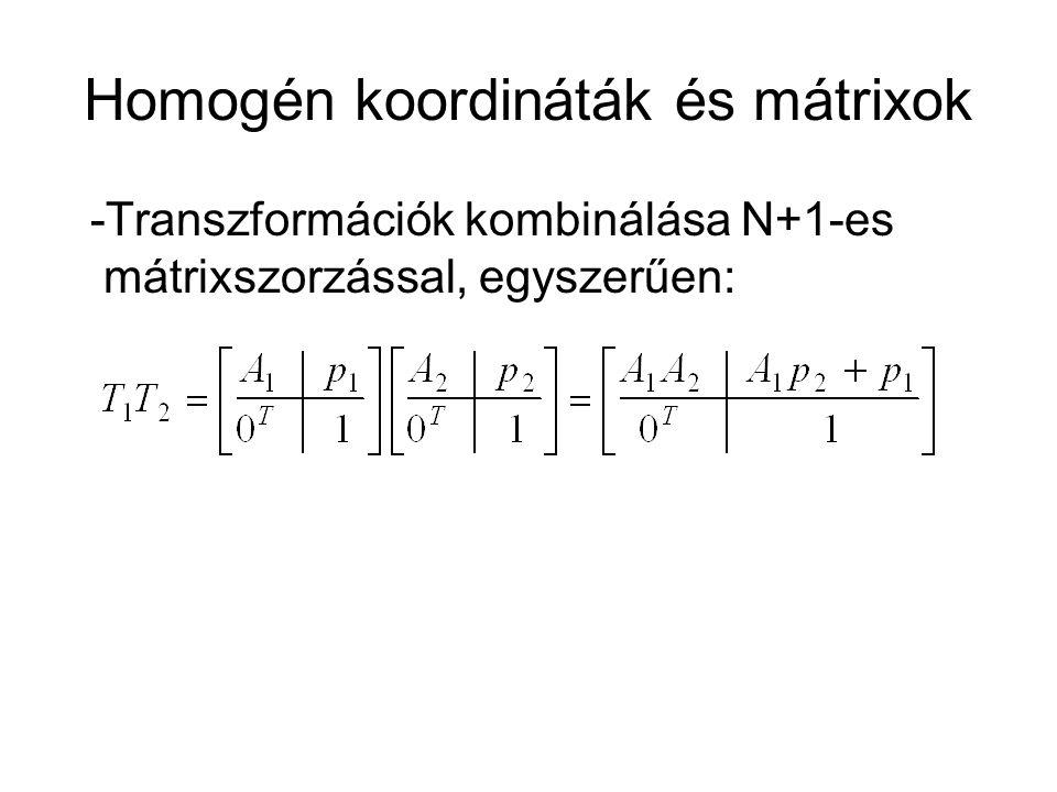 Homogén koordináták és mátrixok -Transzformációk kombinálása N+1-es mátrixszorzással, egyszerűen: