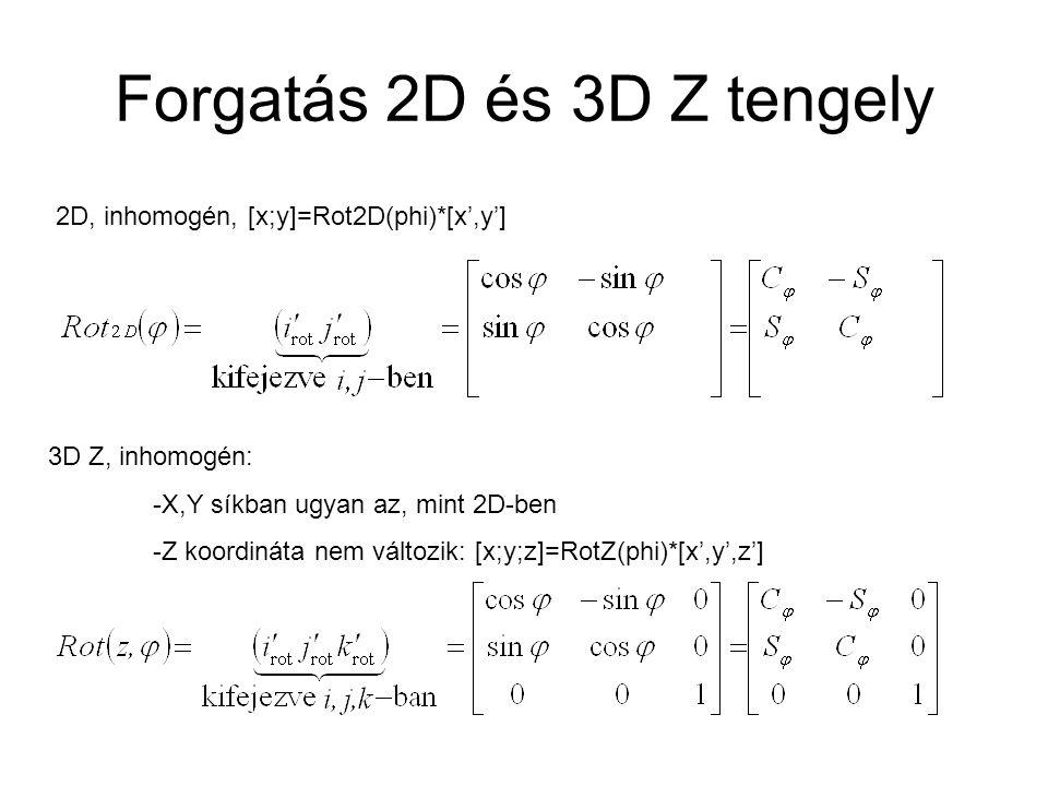 Forgatás 2D és 3D Z tengely 2D, inhomogén, [x;y]=Rot2D(phi)*[x',y'] 3D Z, inhomogén: -X,Y síkban ugyan az, mint 2D-ben -Z koordináta nem változik: [x;y;z]=RotZ(phi)*[x',y',z']