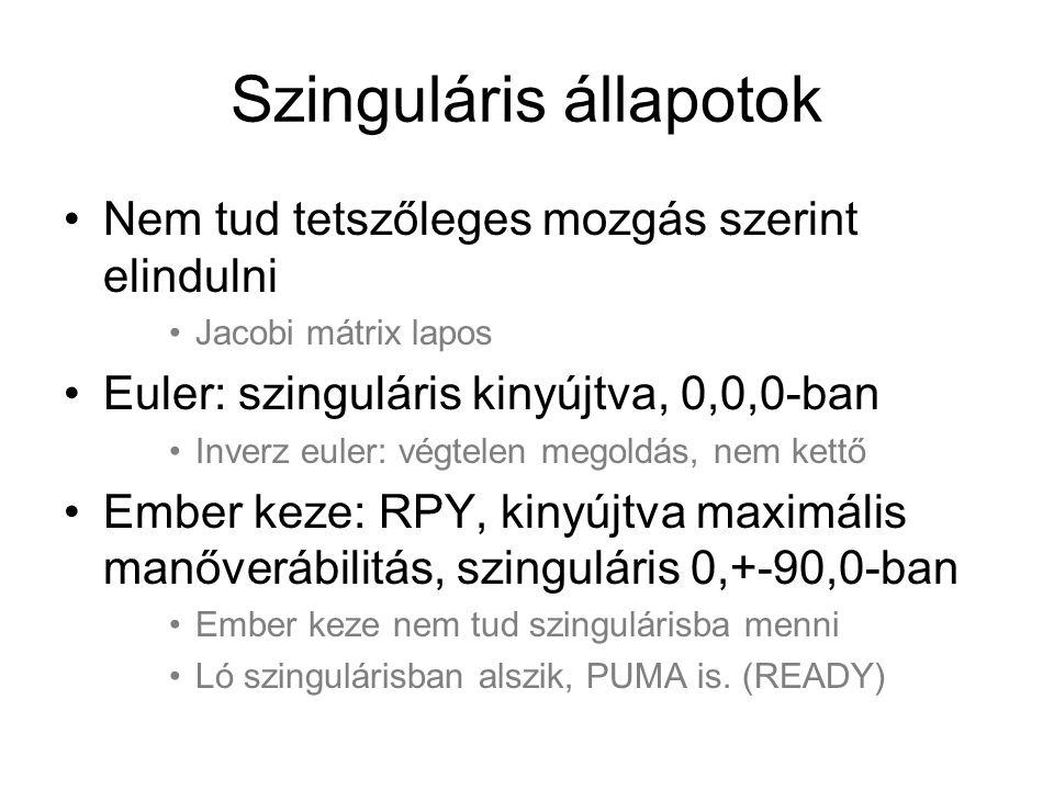 Szinguláris állapotok Nem tud tetszőleges mozgás szerint elindulni Jacobi mátrix lapos Euler: szinguláris kinyújtva, 0,0,0-ban Inverz euler: végtelen megoldás, nem kettő Ember keze: RPY, kinyújtva maximális manőverábilitás, szinguláris 0,+-90,0-ban Ember keze nem tud szingulárisba menni Ló szingulárisban alszik, PUMA is.