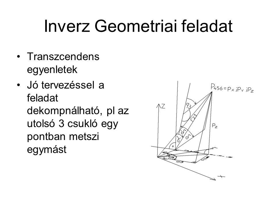 Inverz Geometriai feladat Transzcendens egyenletek Jó tervezéssel a feladat dekompnálható, pl az utolsó 3 csukló egy pontban metszi egymást