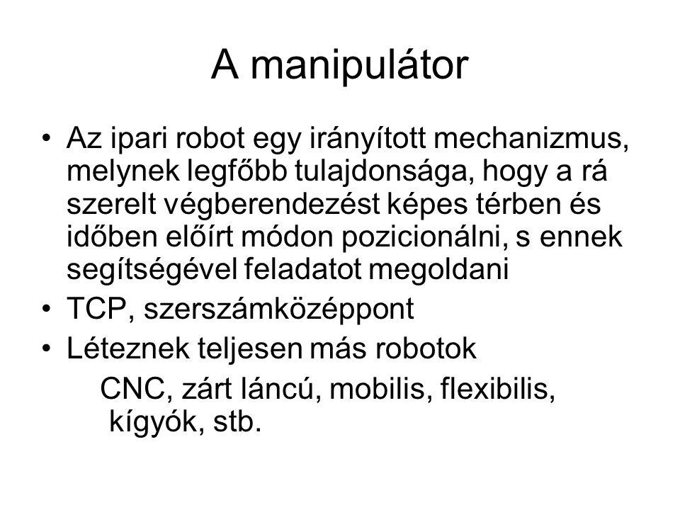 A manipulátor Az ipari robot egy irányított mechanizmus, melynek legfőbb tulajdonsága, hogy a rá szerelt végberendezést képes térben és időben előírt módon pozicionálni, s ennek segítségével feladatot megoldani TCP, szerszámközéppont Léteznek teljesen más robotok CNC, zárt láncú, mobilis, flexibilis, kígyók, stb.