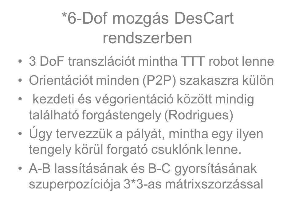 *6-Dof mozgás DesCart rendszerben 3 DoF transzlációt mintha TTT robot lenne Orientációt minden (P2P) szakaszra külön kezdeti és végorientáció között mindig található forgástengely (Rodrigues) Úgy tervezzük a pályát, mintha egy ilyen tengely körül forgató csuklónk lenne.
