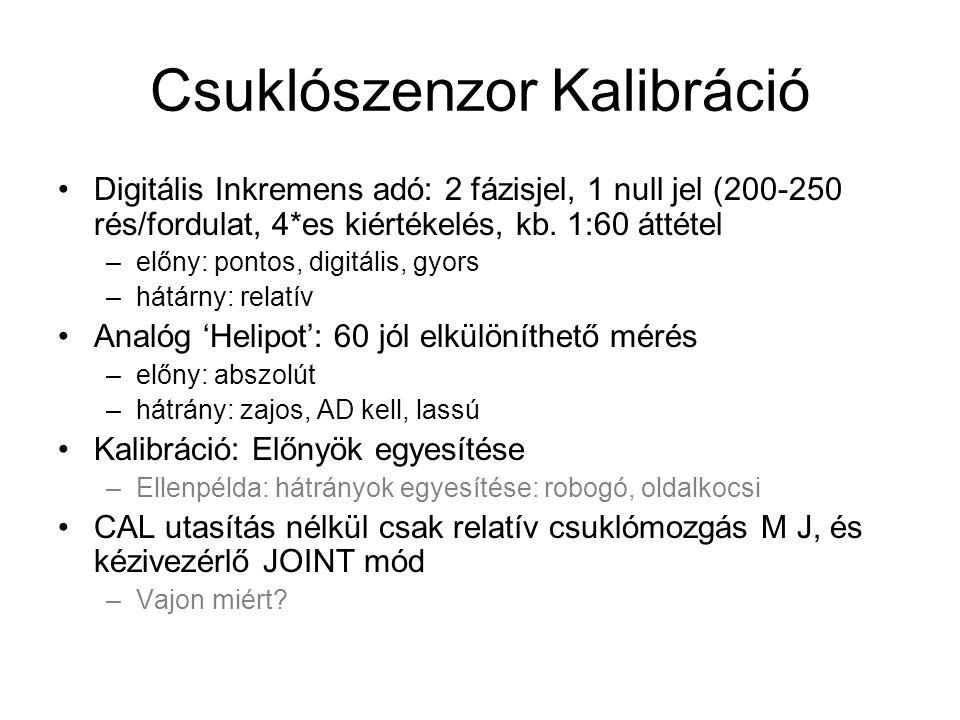 Csuklószenzor Kalibráció Digitális Inkremens adó: 2 fázisjel, 1 null jel (200-250 rés/fordulat, 4*es kiértékelés, kb.