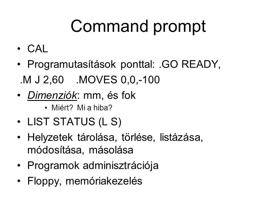 Command prompt CAL Programutasítások ponttal:.GO READY,.M J 2,60.MOVES 0,0,-100 Dimenziók: mm, és fok Miért.