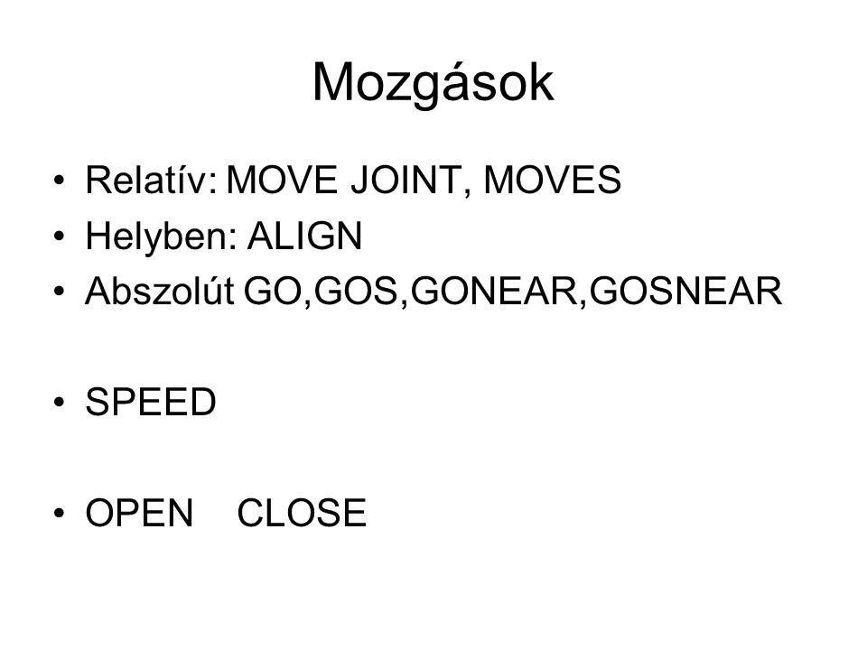 Mozgások Relatív: MOVE JOINT, MOVES Helyben: ALIGN Abszolút GO,GOS,GONEAR,GOSNEAR SPEED OPEN CLOSE
