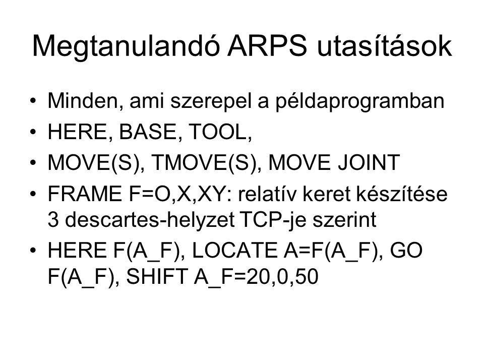 Megtanulandó ARPS utasítások Minden, ami szerepel a példaprogramban HERE, BASE, TOOL, MOVE(S), TMOVE(S), MOVE JOINT FRAME F=O,X,XY: relatív keret készítése 3 descartes-helyzet TCP-je szerint HERE F(A_F), LOCATE A=F(A_F), GO F(A_F), SHIFT A_F=20,0,50