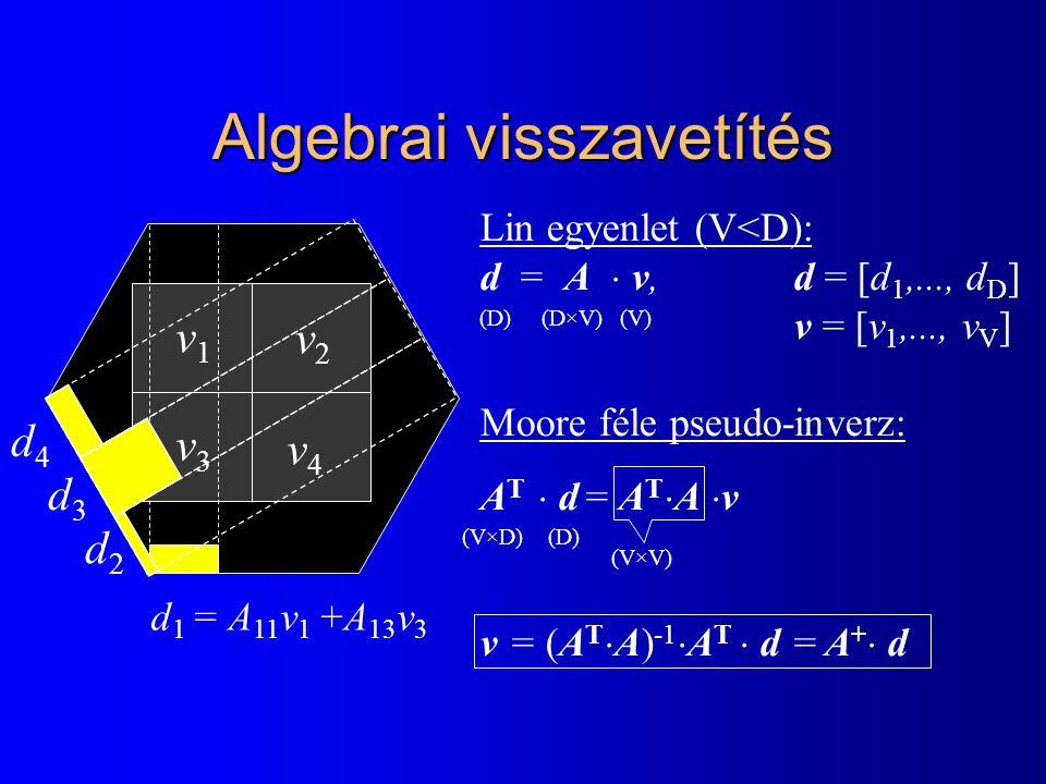 Algebrai visszavetítés v1v1 v2v2 v3v3 v4v4 d 1 = A 11 v 1 +A 13 v 3 d2d2 d3d3 d4d4 Lin egyenlet (V<D): d = A  v,d = [d 1,..., d D ] v = [v 1,..., v V